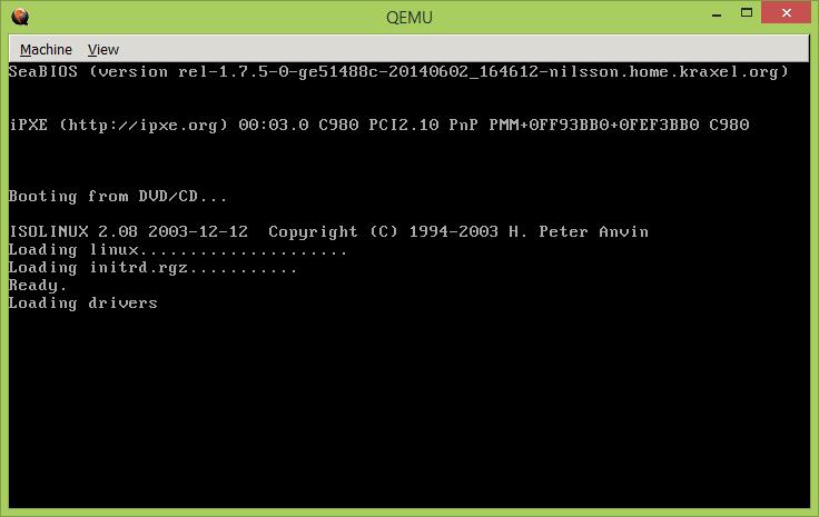 Фиг. 1. Стартиране от виртуалния CD-ROM, зареден с mikrotik-6.28.iso