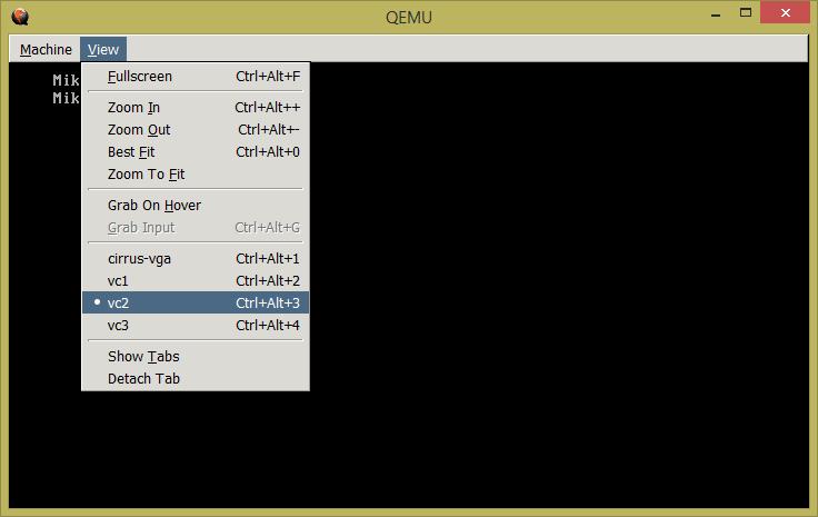 Фиг. 10. Конфигурация на QEMU, с цел използване функциите на Cok Free Auto Typer